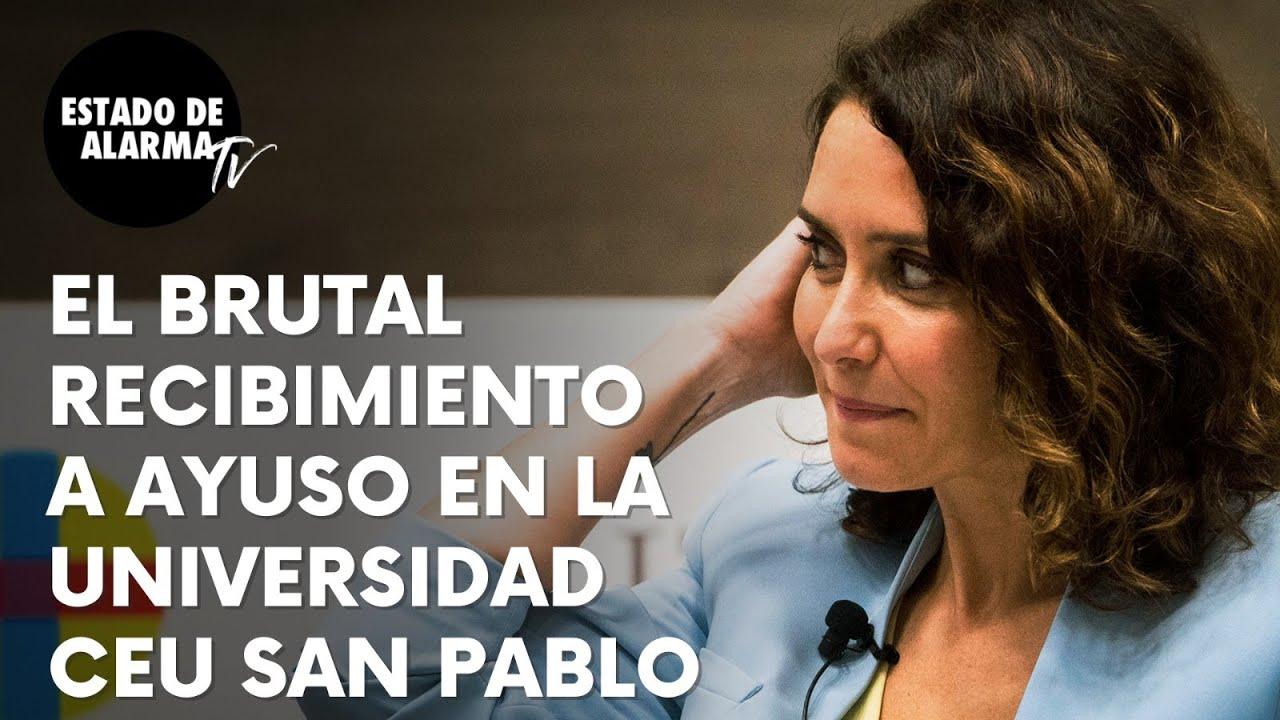 Image del Video: Brutal recibimiento a Ayuso en la Universidad CEU San Pablo
